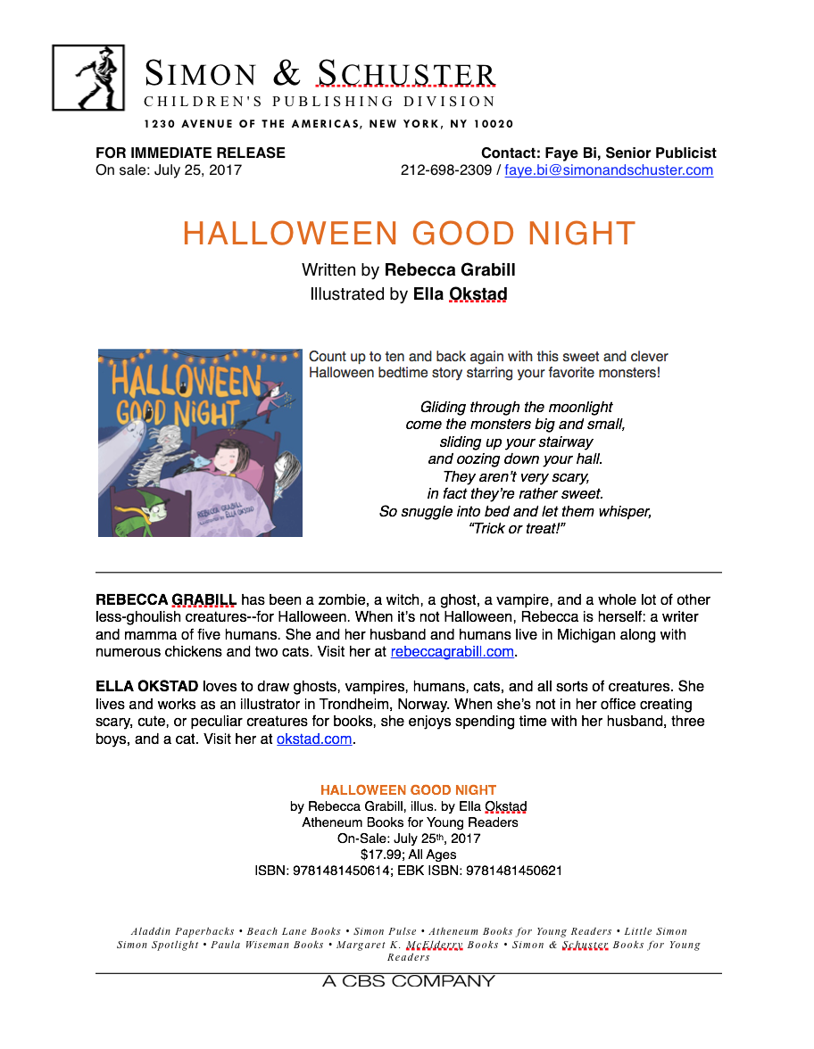Official Halloween Good Night by Rebecca Grabill Press Release from Simon & Schuster