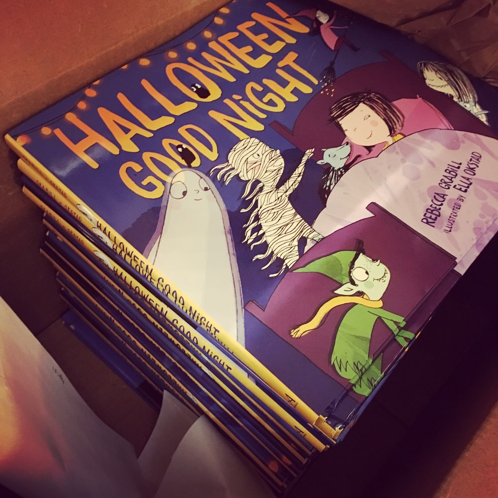 Author copies of my book, Halloween Good Night by Rebecca Grabill illustrated by Ella Okstad