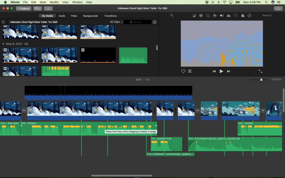 iMovie in action - organize the chaos...