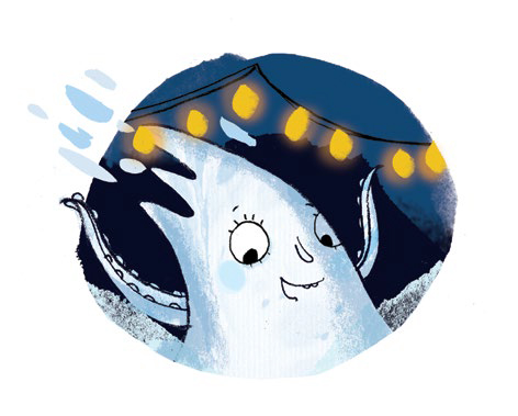 Ella Okstad's adorable Globster illustration from the picture book, Halloween Good Night