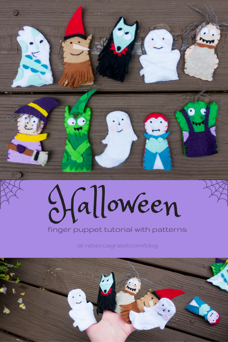 cutest halloween finger puppets craft: free patterns and tutorial