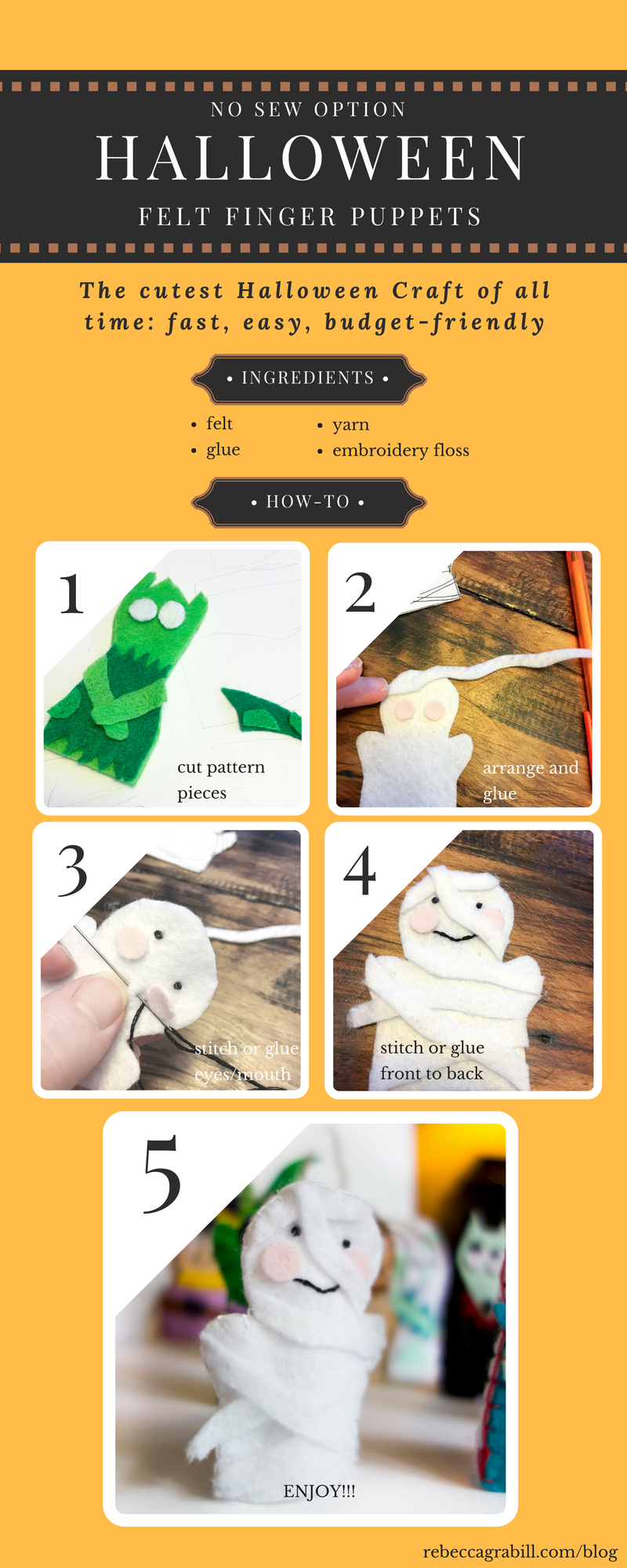 This infographic explains how to make the cutest Halloween Finger Puppets to go with the book Halloween Good Night by Rebecca Grabill