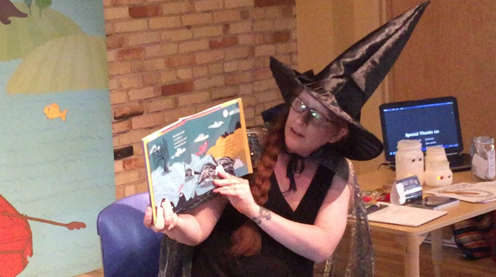 Rebecca Grabill reading Halloween Good Night at Grand Rapids Children's Museum.