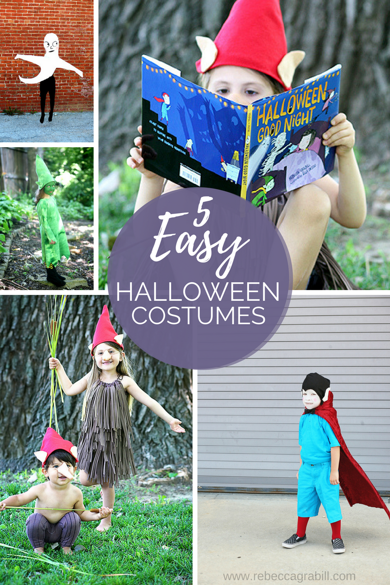 Five adorable and EASY Halloween Costumes, easy DIY tutorial. Vampire, wood imp, goblin, and more!