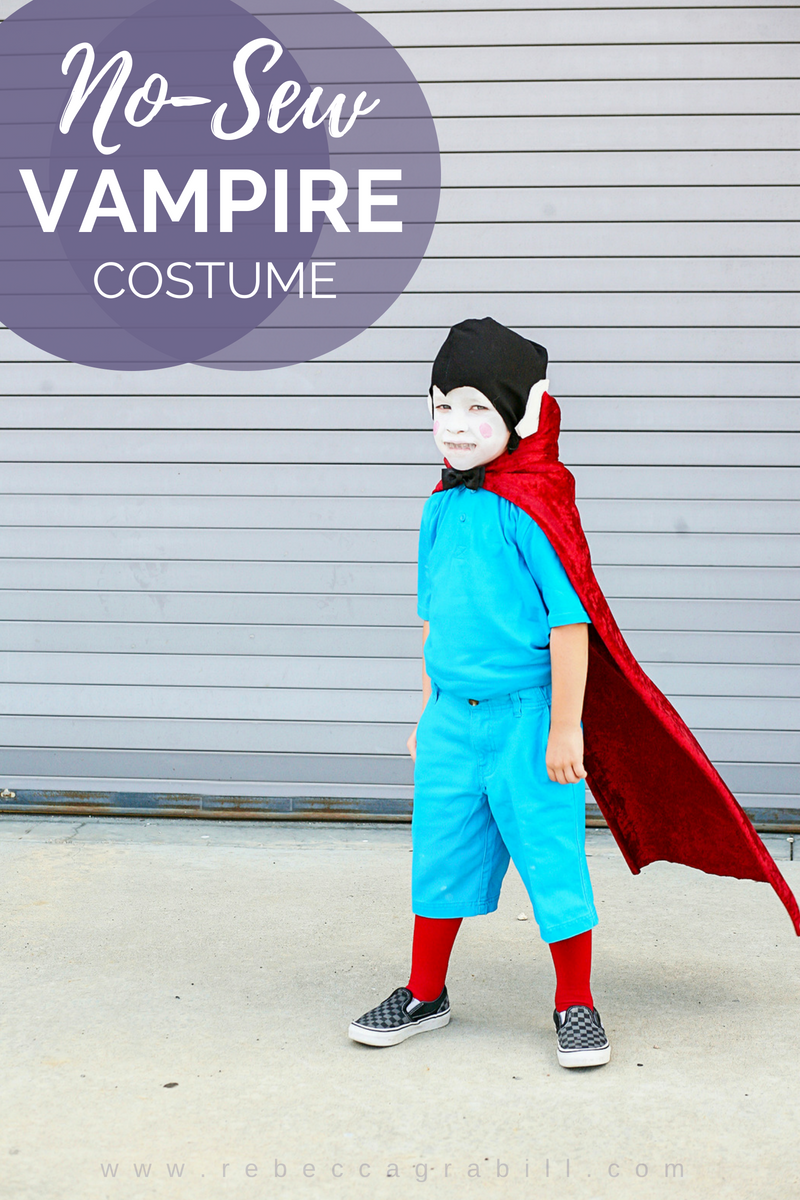 "Forget about the ""traditional"" vampire look, embrace this adorable scarlet-caped ghoul for a unique Halloween costume!"