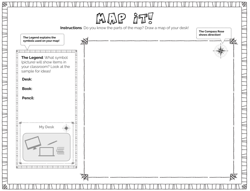 This map exercise teaches map terminology like compass rose and legend, and encourages students to make a map of their desks. -