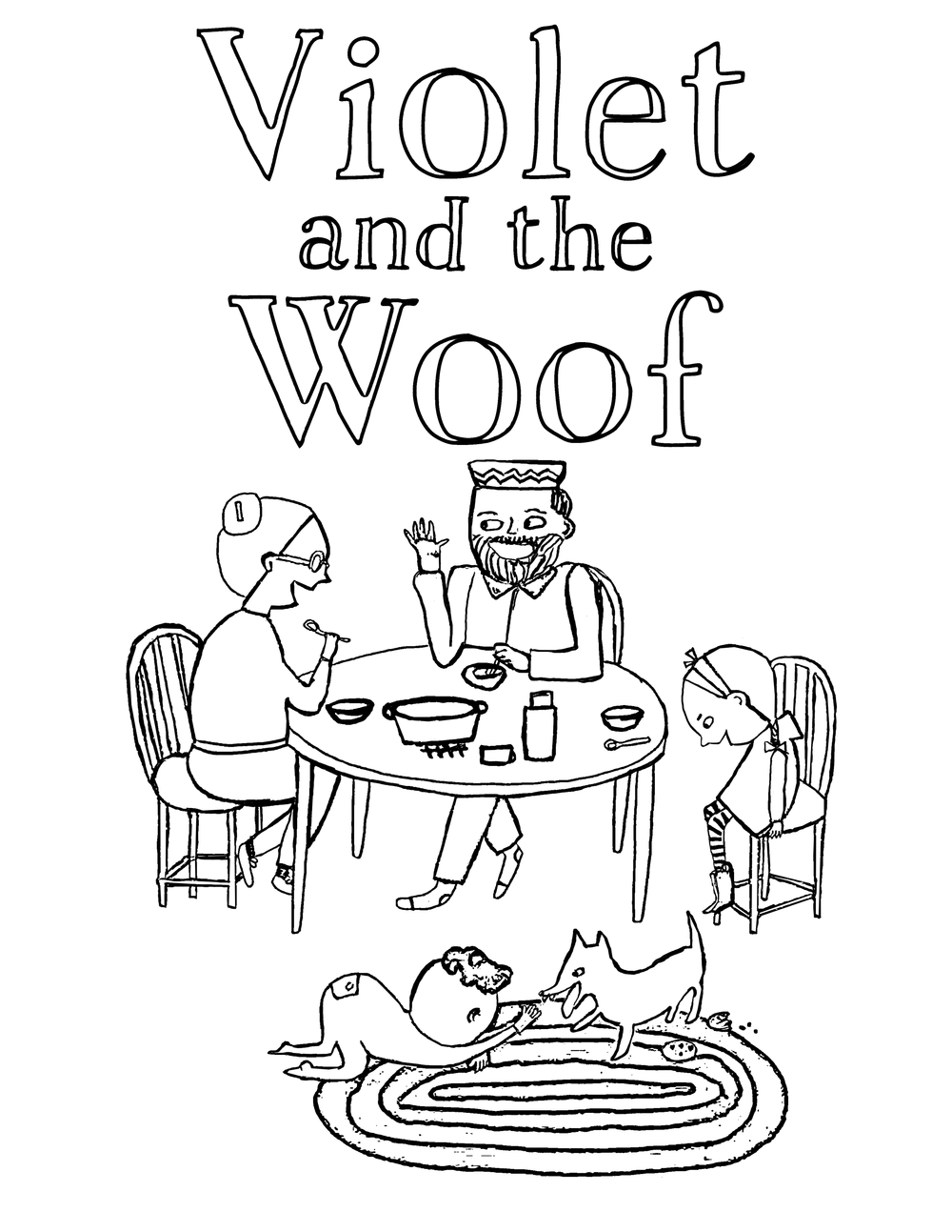 Violet and her neighbors (and the WOOF). A free printable coloring page from Violet and the Woof by Rebecca Grabill and Dasha Tolstikova