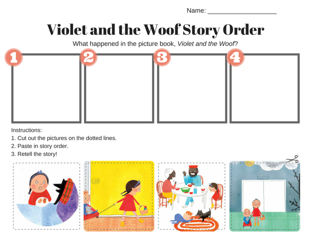 Sequencing printable for Violet and the Woof, an adorable retelling of Little Red Riding Hood by Rebecca Grabill and Dasha Tolstikova.