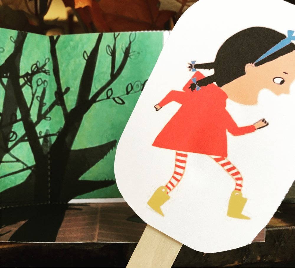 Retell the story of  Violet and the Woof  (an urban Little Red Riding Hood) with these adorable stick puppets! Free printable download.