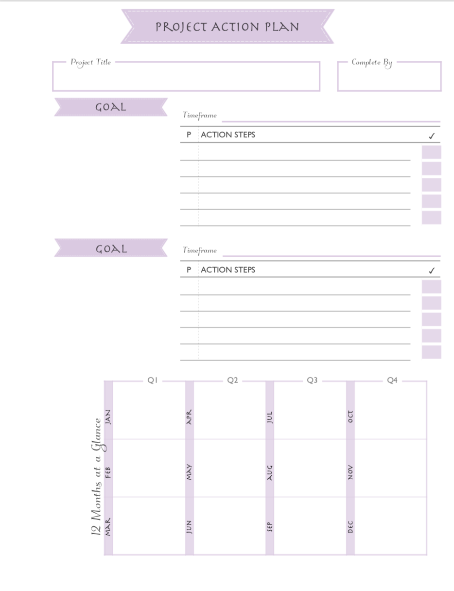 Printable free project planning sheets for use with Happy Planner