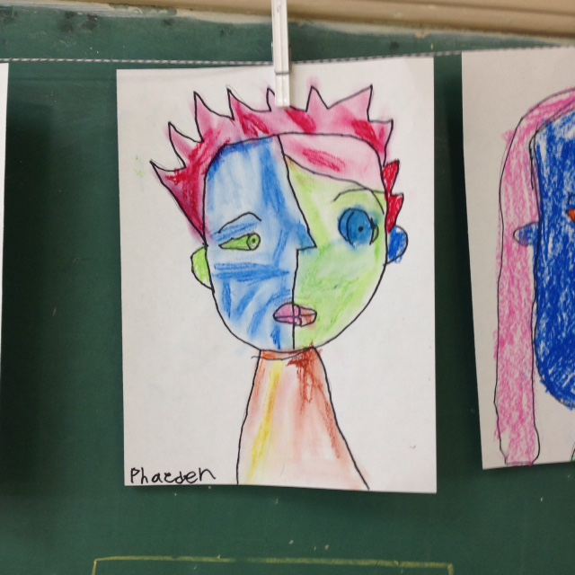 seven-year-old, picasso-inspired art