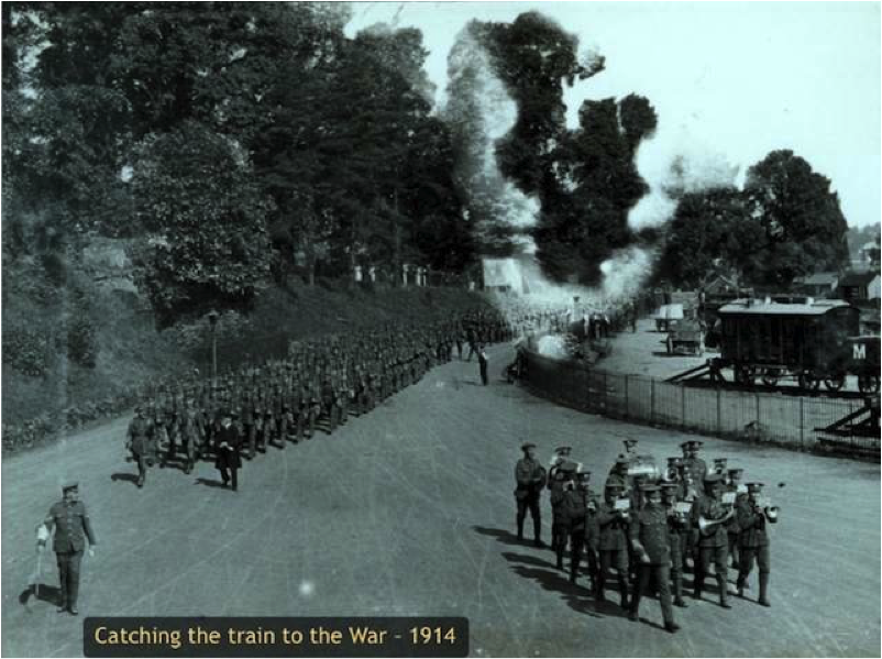This photograph shows soldiers of No 1 Siege Company, RMRE (M) arriving at Monmouth Troy railway station in August 1914. During the First World War the Royal Monmouthshire Royal Engineers provided 76 officers and 2113 enlisted men for service on the Western Front, and in Gallipoli, the Middle East and Italy. Medals awarded included 5 Distinguished Service Orders, 8 Military Crosses, 12 Distinguished Conduct Medals and 16 Military Medals.