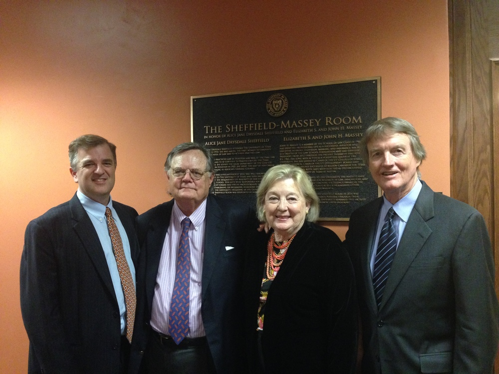 Dean Ward Farnsworth, Foundation President John H. Massey, Libba Massey, and UT President Bill Powers dedicate the newly renovated Sheffield-Massey Room in October 2014.