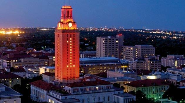 The UT Tower was lit on April 21, 2015 in honor of the School of Law's Advocacy Program's national championship during the 2014-2015 season.