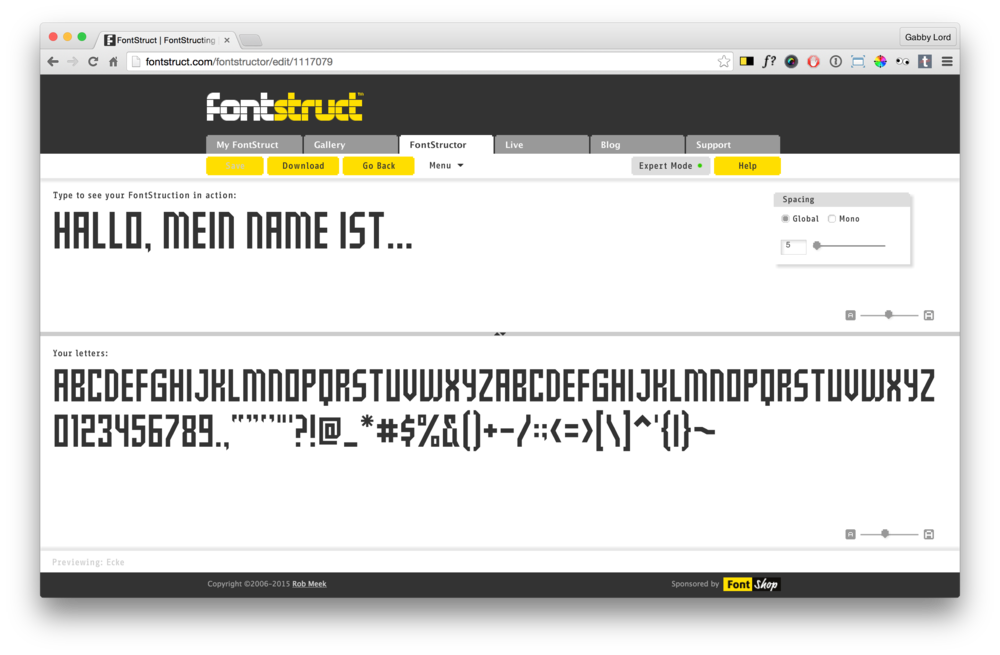 Fontstruct preview mode