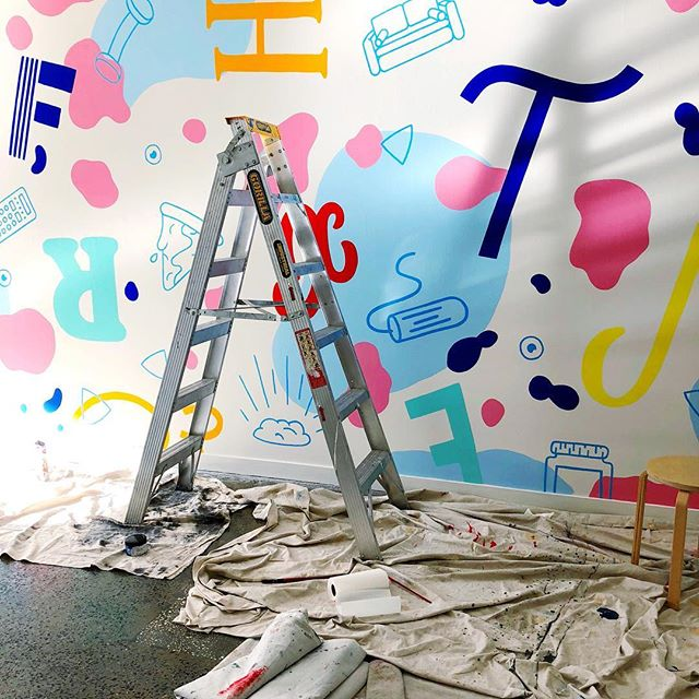 PSA to go check out @katepullendraws solo exhibition at @lamingtondrive if you're in Melbourne 🐶🐶 here's a cheeky WIP from last week where I managed to not get ANY paint on my active wear 💪🏻 · · · #wip #mural #katepullendraws #lamingtondrive #doggos #colour #color #design