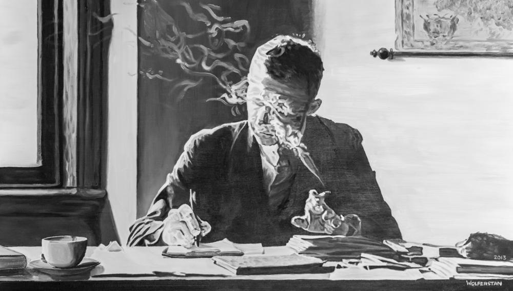 """Francis at his Desk, Smoking Oil,22 x 40"""""""