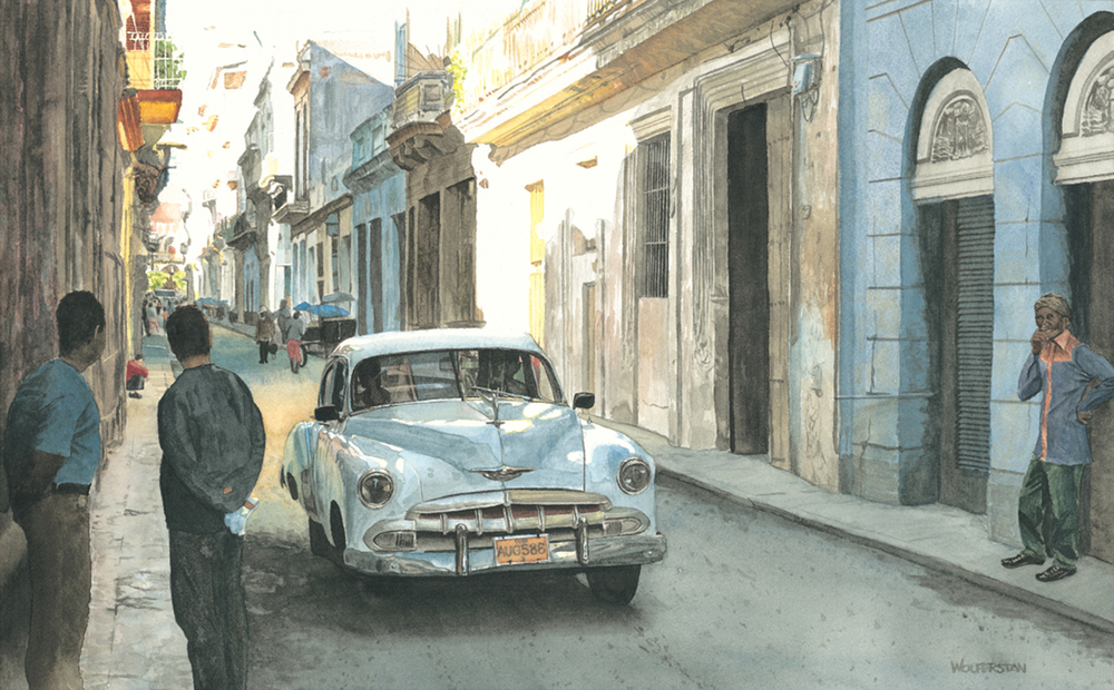 "Havana Streetscape  11 x 18"""