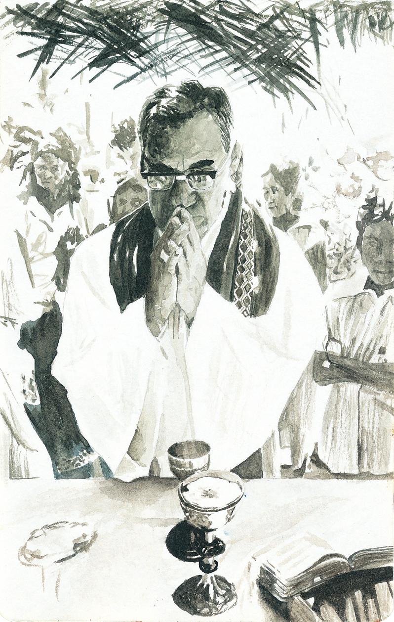 "Monseñor Romero Blesses Communion  5 x 7.75"""
