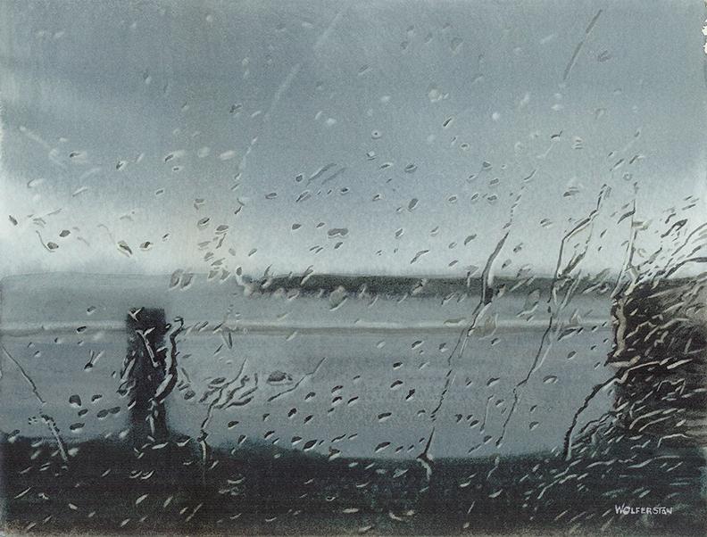 "Rain at Ross Bay   8  x 11"""