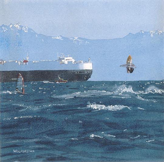 "A Stiff Breeze on the Strait  7.5 x 7.5"""