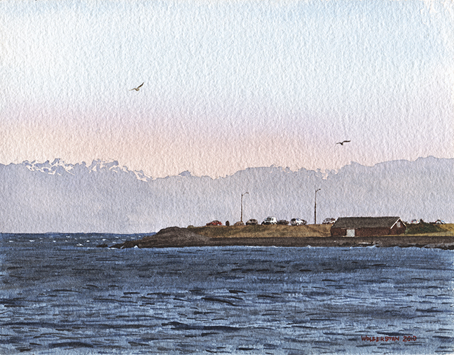 """Blustery Clover Point Afternoon  6.75 x 8.75"""""""