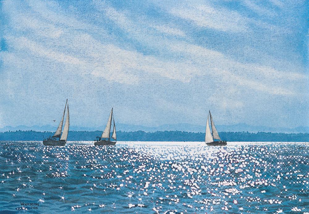 "Evening Sail off Tsehum Harbour  19.5 x 13.75"""