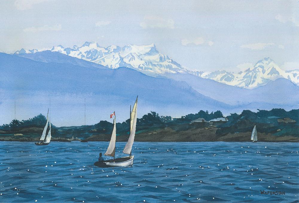 """'Puffin' Sails Oak Bay  10 x 15"""""""