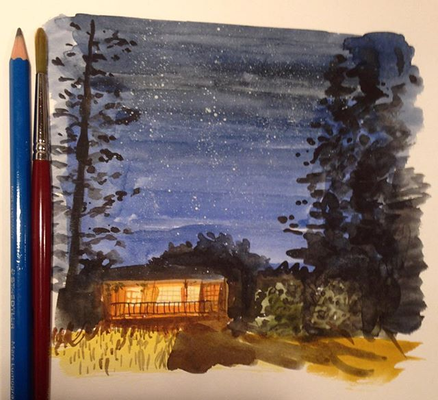 Inspired by #cabinporn——————————————— #watercolour #watercolor #watercolorpainting #cabins #art #instaart #shadow #night #stars #trees #light #aquarelle #painting #traditionalart #wolferstan