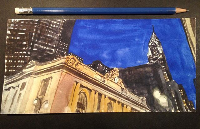 Throwback to NYC, 2014!—————————————————— #tbt #watercolour #watercolor #watercolorsketch #nyc #newyork #grandcentralstation #art #instaart #evening #night #architecture #city #light #aquarelle #painting #traditionalart #wolferstan