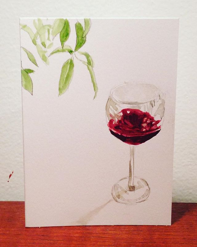 """Yoga class? Oh, I thought you said """"pour a glass"""" ———————————————— #watercolour #watercolor #watercolorpainting #wine #redwine #yoga #yvr #art #instaart #shadow #plants #light #aquarelle #painting #traditionalart #wolferstan"""