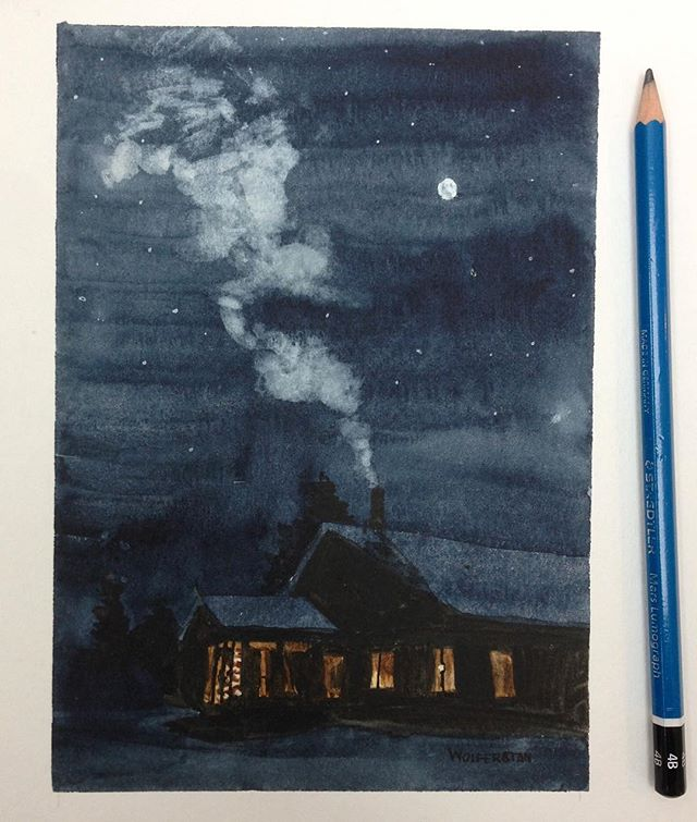 More #cabinporn , commission——————————————— #watercolour #watercolor #ontario #watercolorpainting #cabins #art #chimney #instaart #shadow #night #stars #moon #trees #light #aquarelle #painting #traditionalart #wolferstan