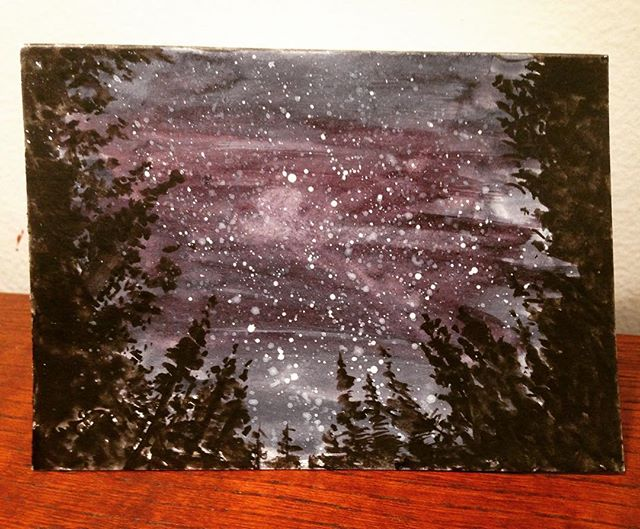 The stars beyond the trees —————————————————— #watercolour #watercolor #watercolorpainting #astronomy #nightsky #art #instaart #night #stars #trees #forest #light #aquarelle #painting #traditionalart #wolferstan