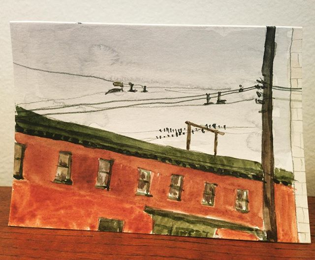 Main St. rooftops and birds on wires ———————————–—–———————— #mainstreet #mountpleasant #vancouver #birds #rooftops  #watercolour #watercolor #watercoloursketch #painting #art #instaart #cityscape #light #pleinair #enpleinair #overcast #rain #aquarelle #wolferstan