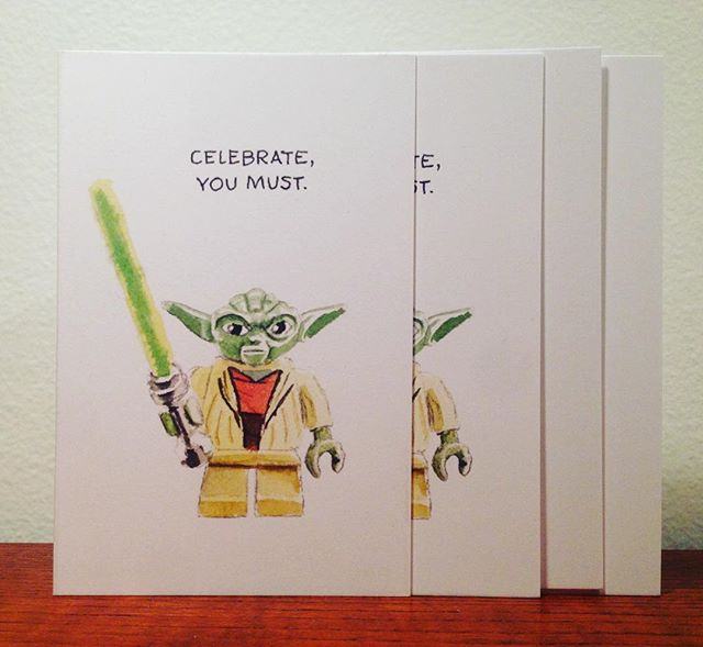 Made cards of my little painting! DM me to purchase, $6 ea. or 4 for $20. ———————————————–———— #watercolour #watercolor #painting #art #instaart #yoda #starwars #maytheforcebewithyou #lego #theforce #cards #legostarwars #birthdaycard #childrenscards #kidscards