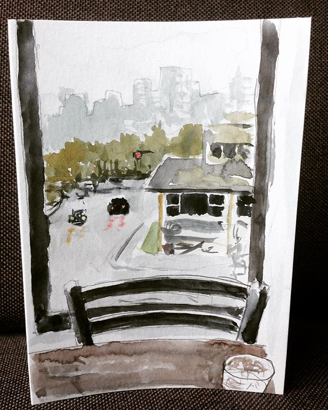Wet Vancouver morning out the cafe window ————————————–—–—————— #yvr #vancouver #winter #wet #quickanddirty #watercolour #watercolor #watercoloursketch #painting #art #instaart #cityscape #light #trees  #yaletown #enpleinair #cafe #aquarelle #wolferstan