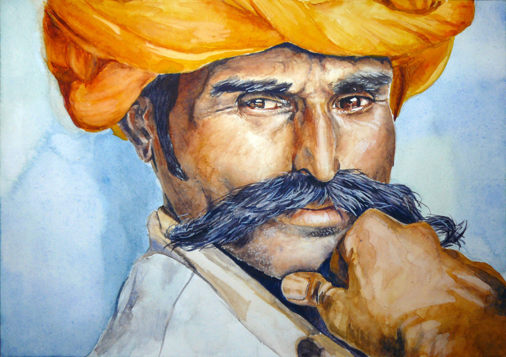 Portrait (from an image in the National Geographic), gouache on paper