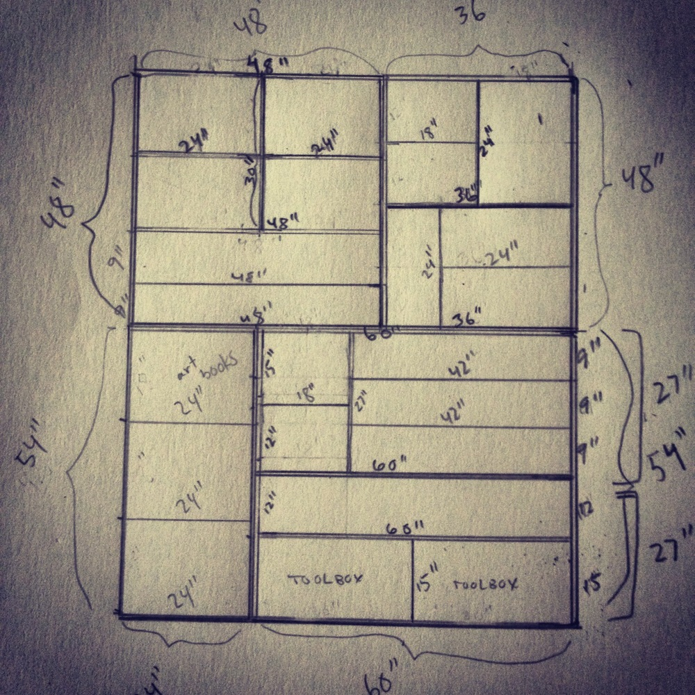 Rough design for built-in bookshelves.