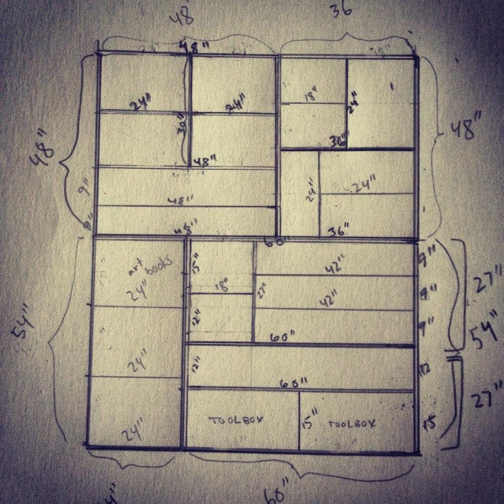 Rough design for built-in bookshelves.