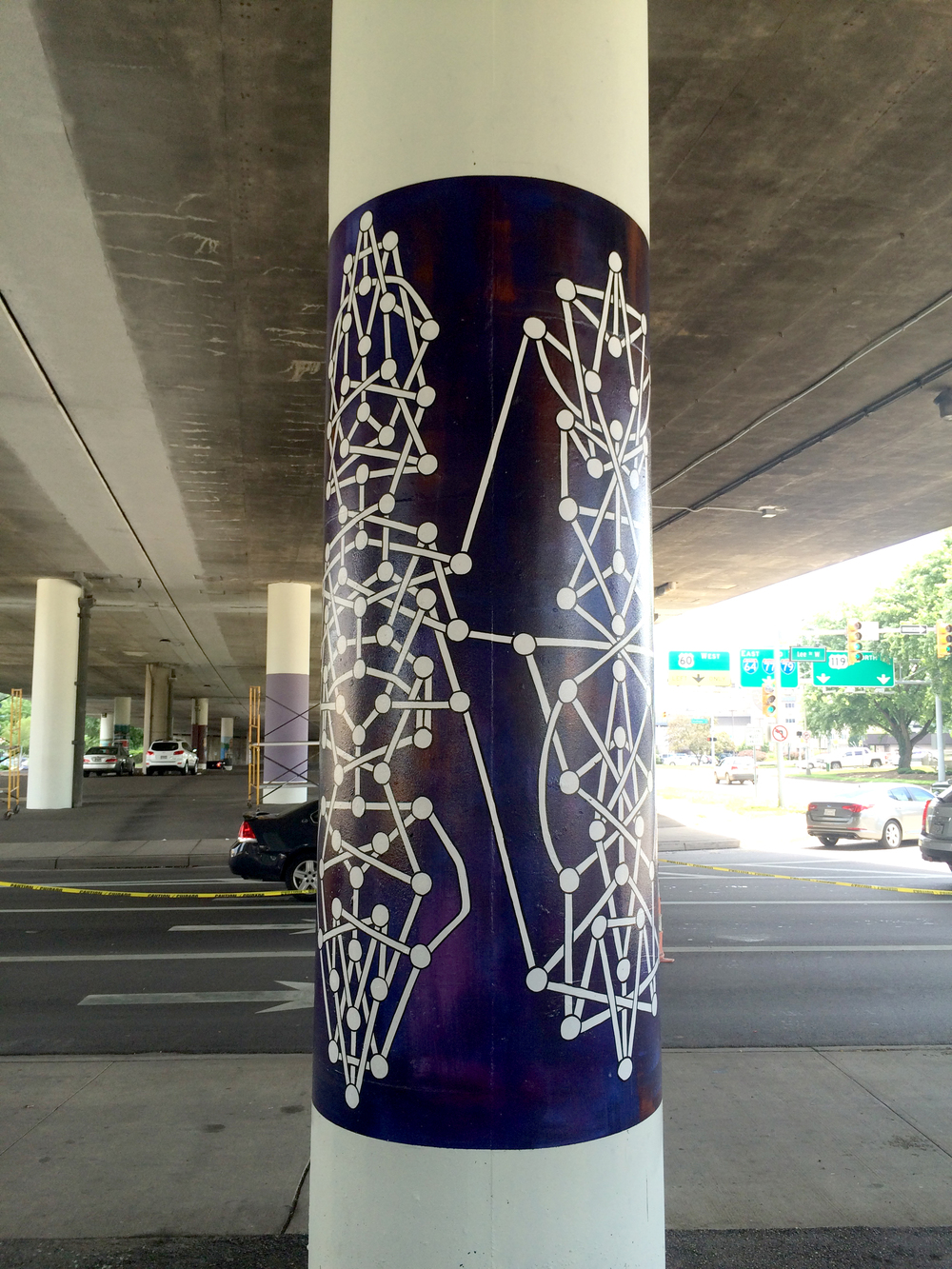 """System #7"" Public art commission from the city of Charleston, WV. Installed on Lee Street, under the I64 underpass in July 2016."