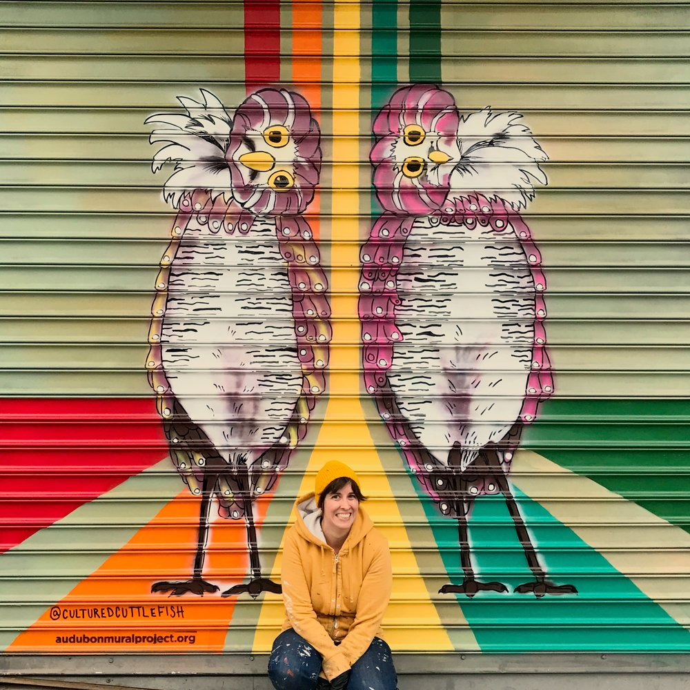 Burrowing owls mural for the  Audubon Mural Project  on 145th and Broadway in Harlem, NYC. October 2016.