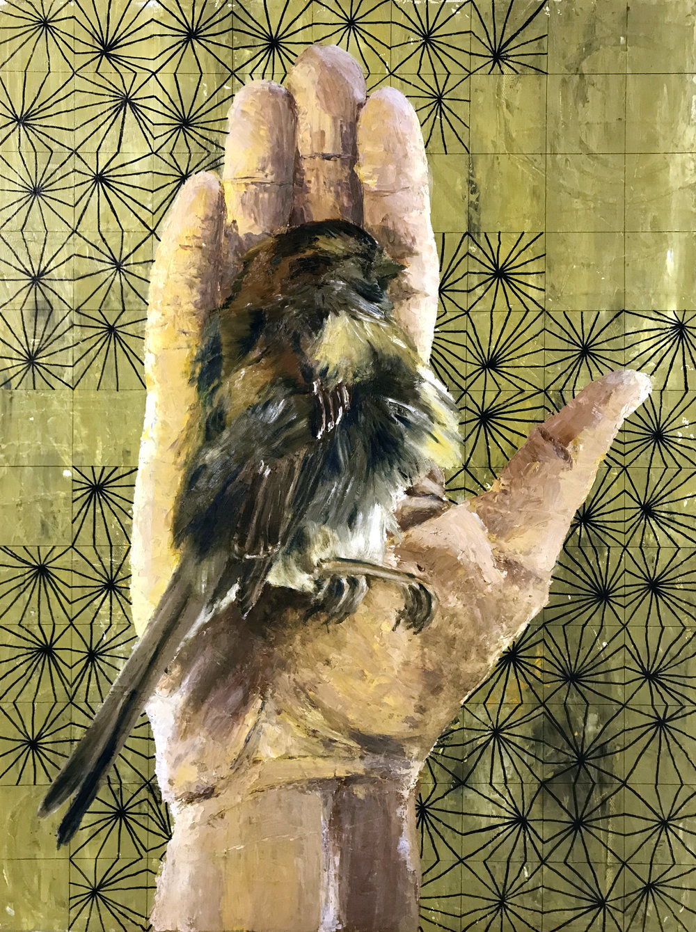 House Sparrow (cause of death unknown -- possibly blunt force trauma via window collision, Montreal 2016), acrylic and oil on canvas