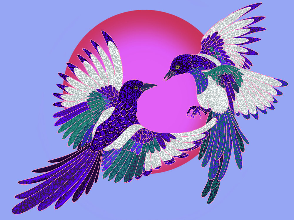 Magpies mural proposal for Denver CO mural programs (TBD).