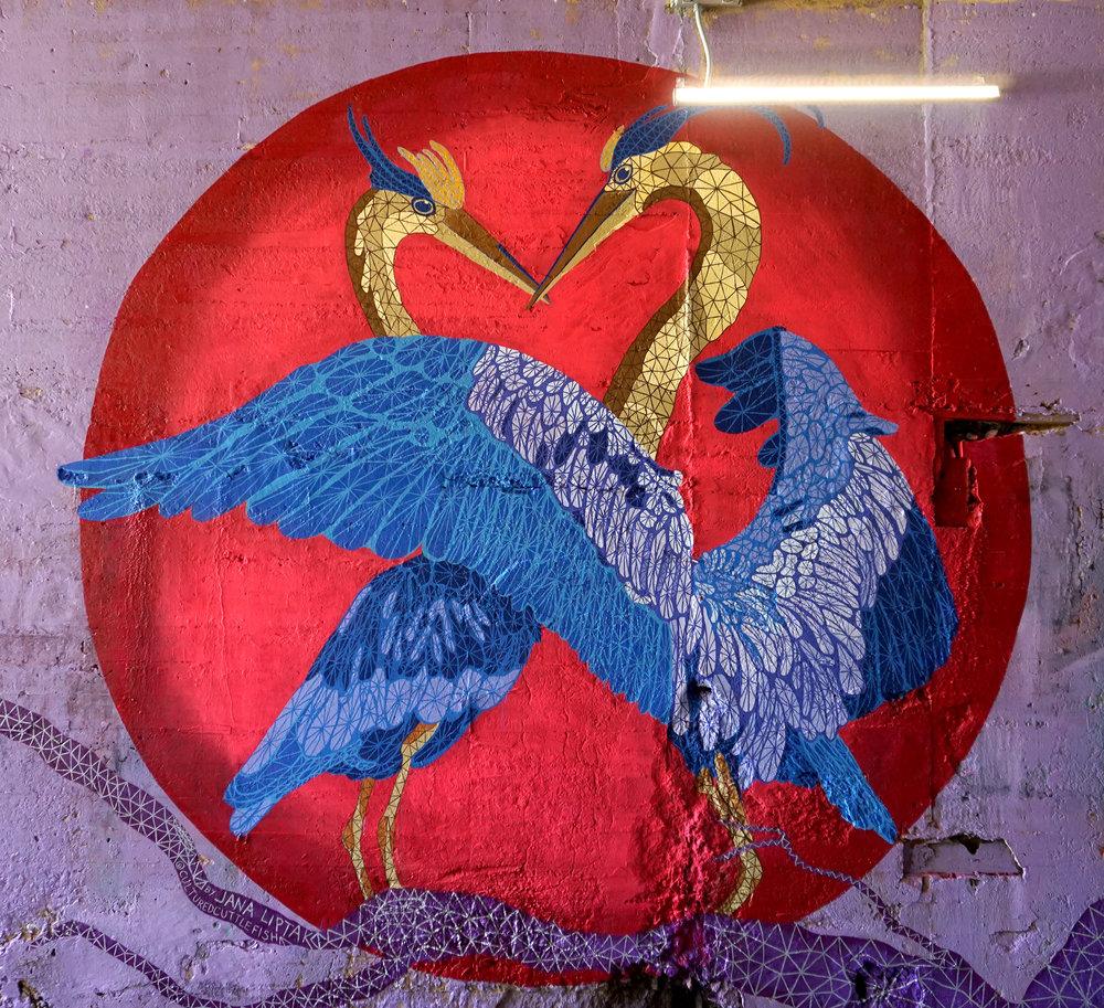 """Herons in Love"" commissioned for  Art on the Atlanta Beltline 's Beltline Walls Mural Festival, August 2018."