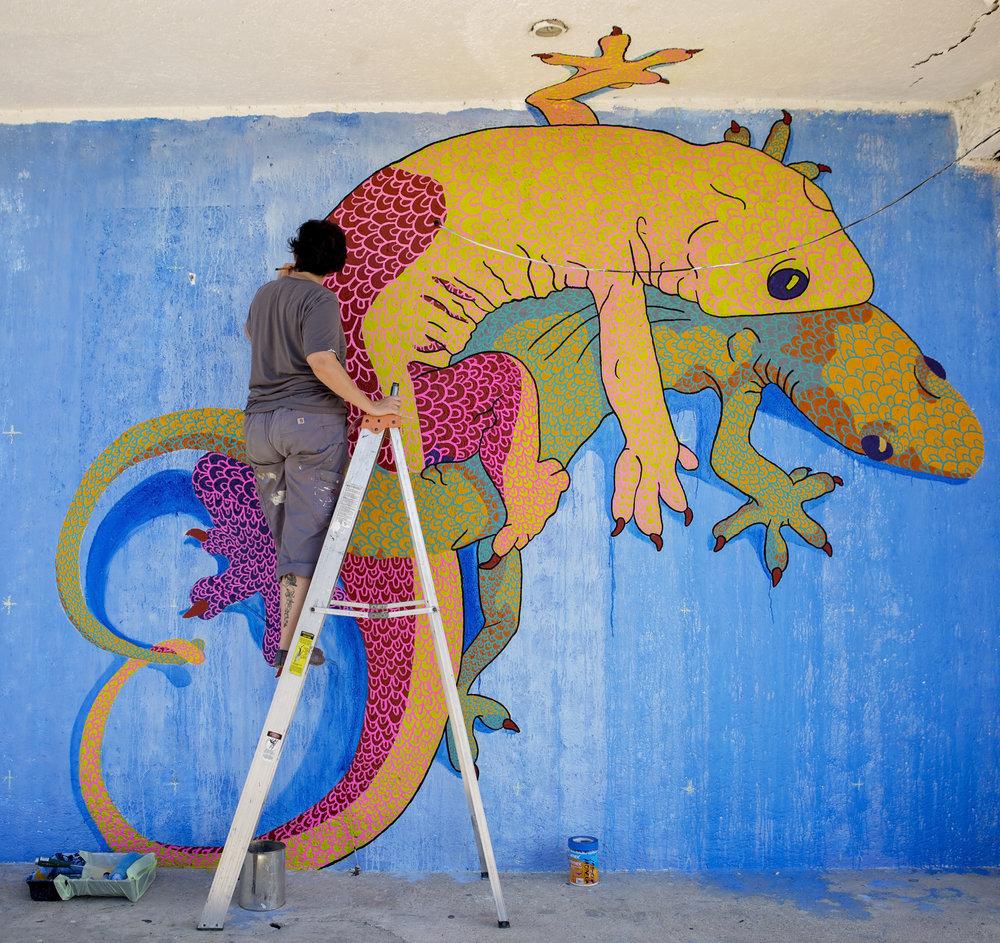 """Geckos Enamorados"" for the Akumal Mural Festival , Akumal, Mexico, 2018. Photo by John Dominé"