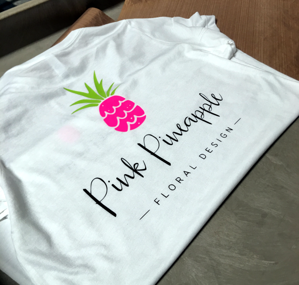 Pink Pineapple Floral Design - Custom logo t-shirts