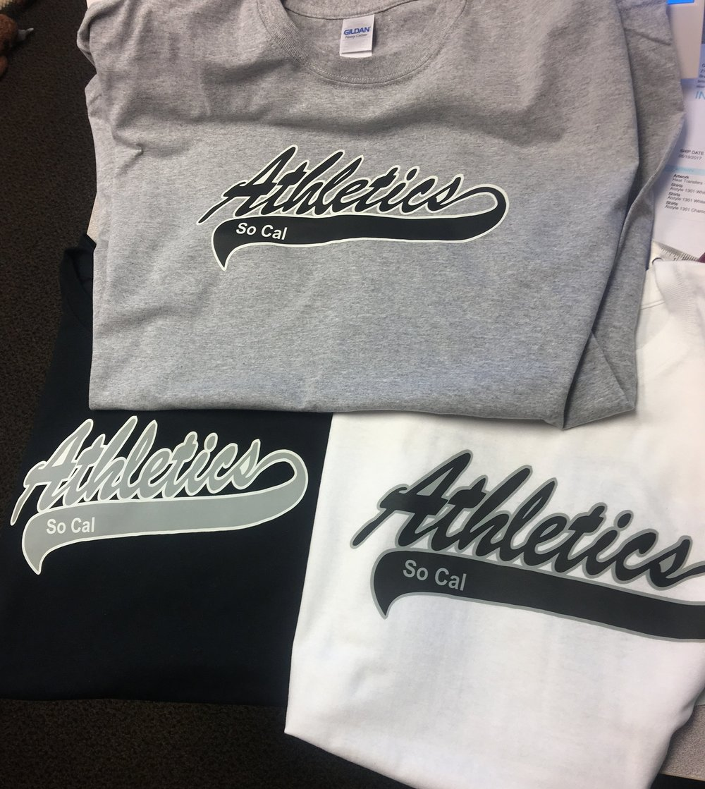 So Cal Athletics custom t-shirts with color change