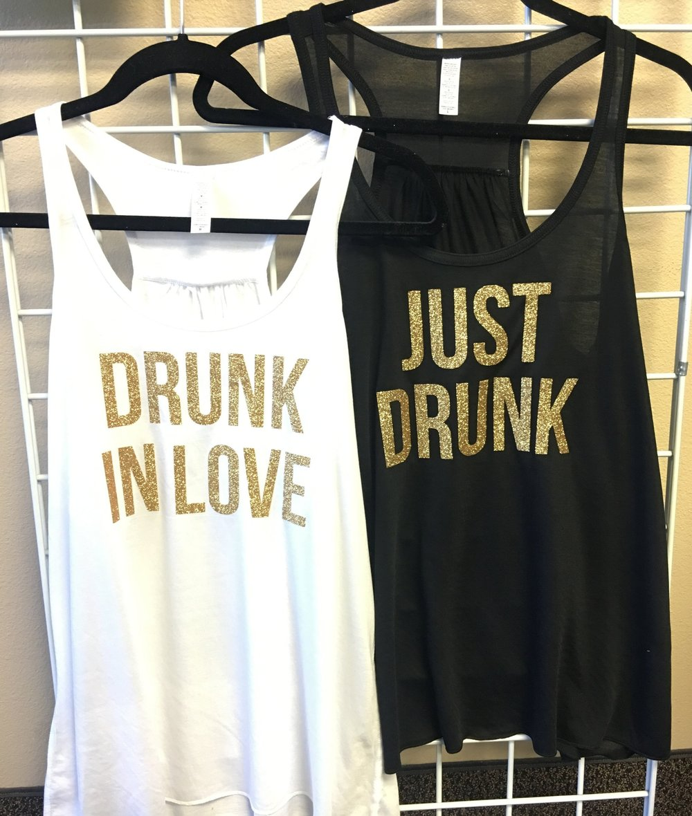 Drunk In Love Glitter Tank and Just Drunk Glitter Tank