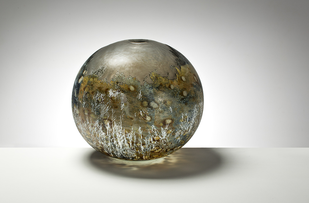 """Mount Stillwell"" 2014, Blown glass with glass powder, metal leaf, glass paint & battuto surfaces. H290mm x W290mm x D290mm"