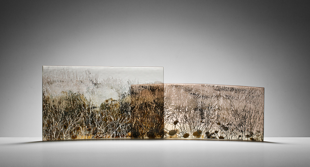 """The Cascades"" 2013, Blown & kilnformed glass panels, H350mm x L1100mm x W150mm."